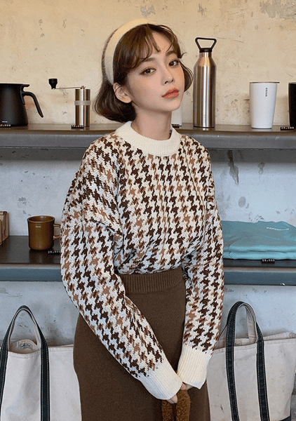 Hounds Tooth Loose Fit Knit