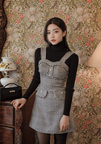 Tweed Pearl Overall Dress