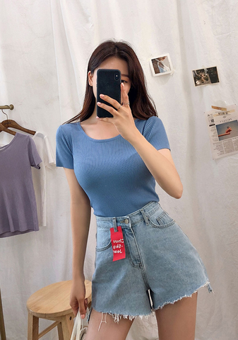 Shiny Love Short Sleeves Knit Top