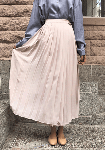 Fjord Pleated Belted Long Skirt