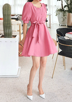 Wavy Square-Neck Button Dress