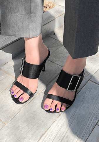 Buckled Strap Mule Sandals