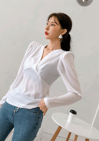 Gathered Surplice Neck Blouse