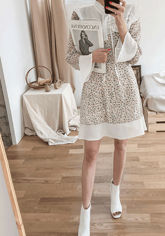 Contrast Yoke Patterned Dress
