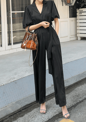 Balloon Sleeve V-Neck Jumpsuit