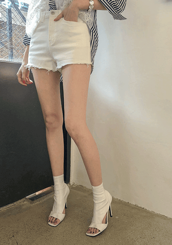 Frayed Hem Cotton Blend Shorts