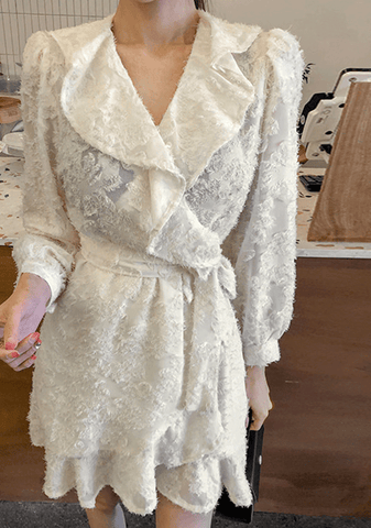 Frayed Wrap Dress