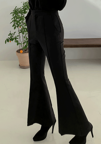 High-Waisted Pintuck Bootcut Slacks