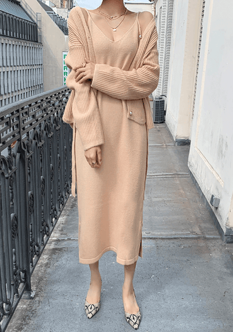 Velocidad Ribbed Cardigan+Dress Set