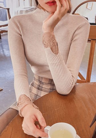 Lace Detail Ribbed Knit