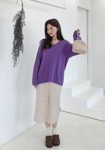 Front Button Detailed Knit Midi Skirt