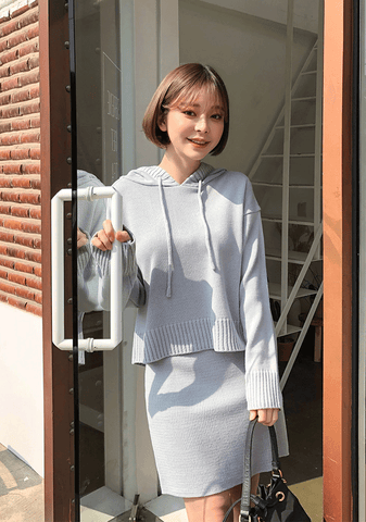 Soft Knit Hoodie+Skirt Set