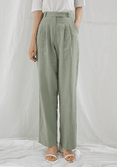 Hidden Linen Pintuck Long Pants