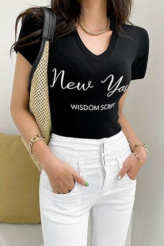 Wisdom In New York Lettering T-Shirt