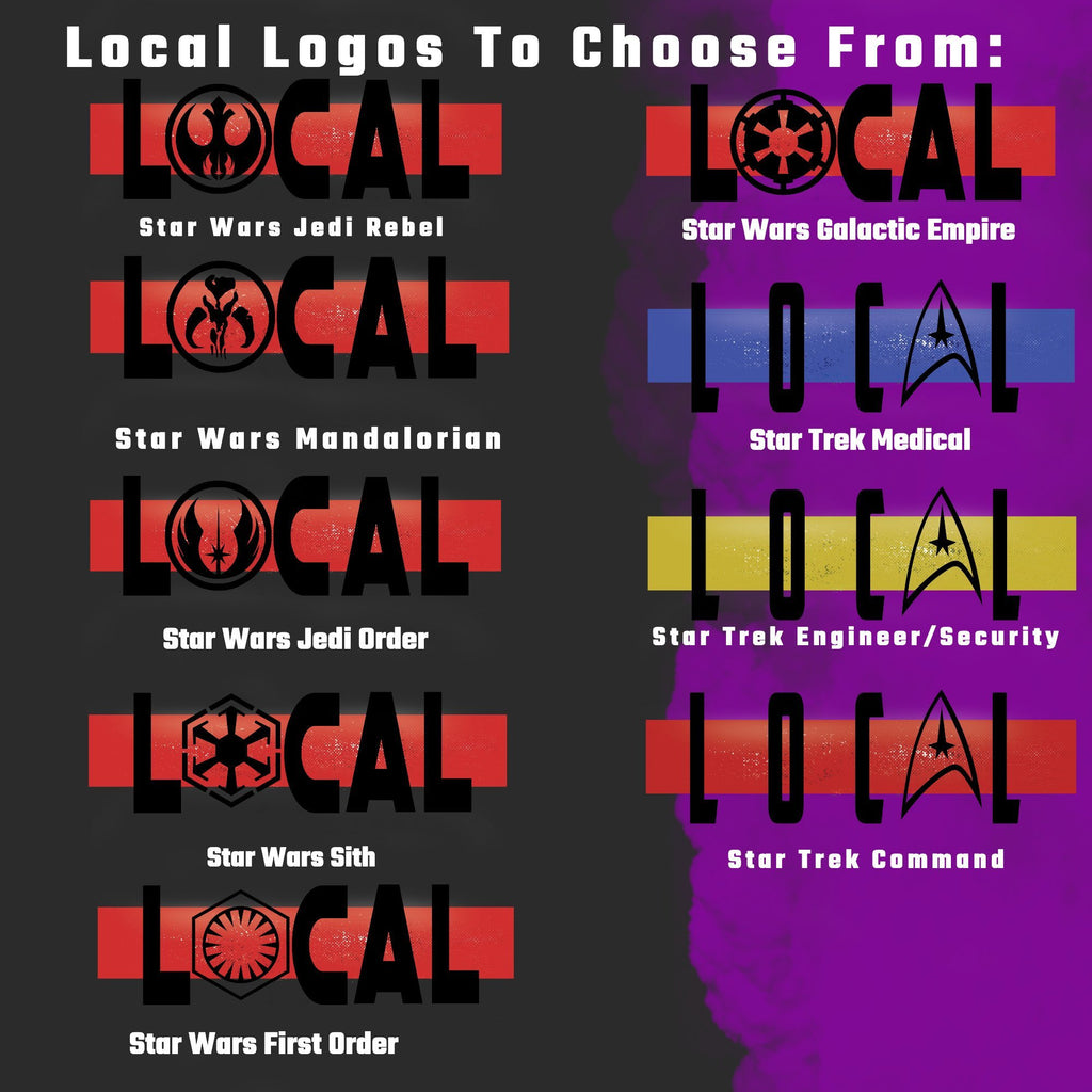 Local - Fully Customizable T-Shirt - Sci-Fi Matching Family Vacation Shirts -19  Dif Logos -Star Wars, Star Trek, Firefly, Galaxy Quest - Supernerdmart