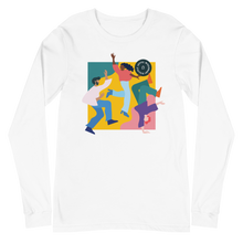 Load image into Gallery viewer, Joyful Missionary Disciple Long Sleeve T-Shirt in White | Unleash the Gospel