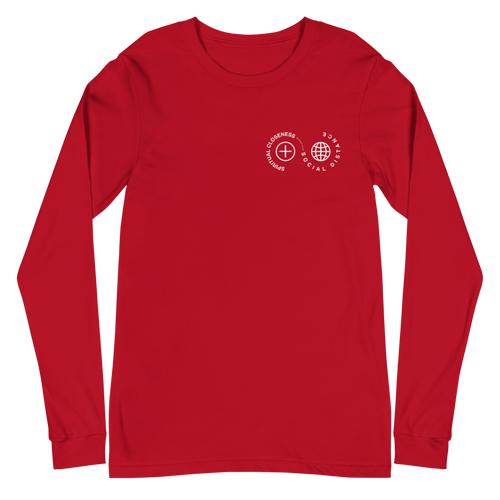 Spiritual Closeness Long Sleeve Unisex T-Shirt in red | Unleash the Gospel