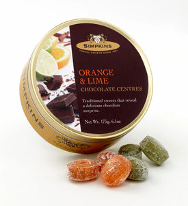 Simpkin's Travel Sweets Orange & Lime Chocolate Centred Drops Tin 6 x 175g