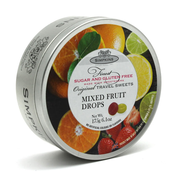 Simpkin's Travel Sweets Sugar Free Mixed Fruit Flavour Drops Tin 6 x 175g