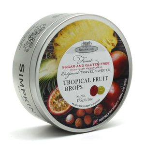 Simpkin's Travel Sweets Sugar Free Tropical Fruit Flavour Drops Tin 6 x 175g