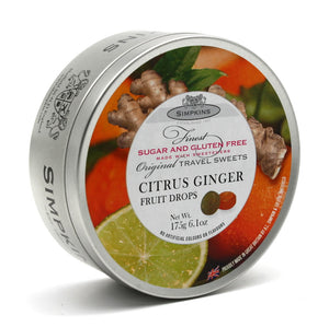 Simpkin's Travel Sweets Sugar Free Citrus Ginger Flavour Drops Tin 6 x 175g