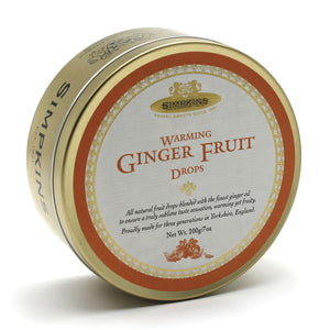 Simpkin's Travel Sweets Warming Ginger Fruit Traditional Drops Tin 6 x 200g