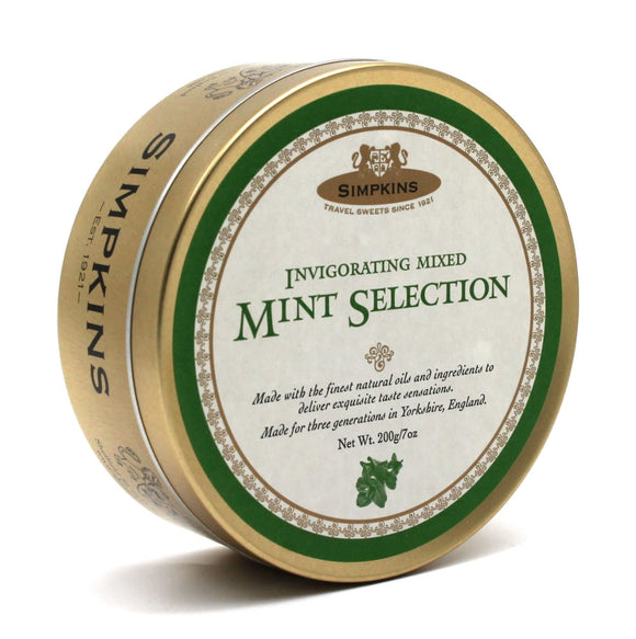 Simpkin's Travel Sweets Mint Selection Traditional Mint  Drops Tin 6 x 200g