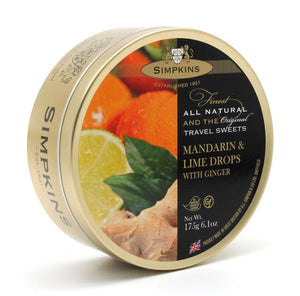 Simpkin's Travel Sweets Mandarin,Lime & Ginger Drops Tin 6 x 175g