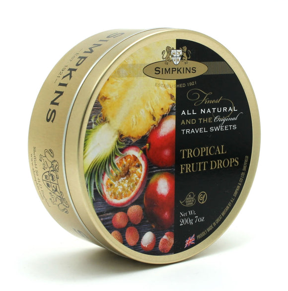 Simpkin's Travel Sweets Tropical Fruits  Drops Tin 6 x 200g