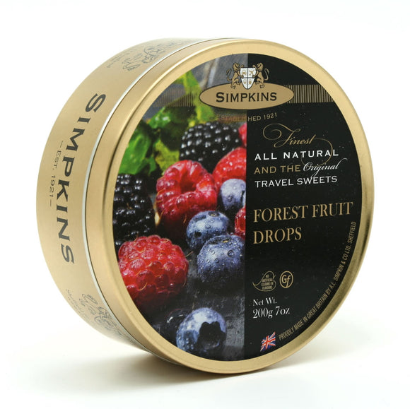 Simpkin's Travel Sweets Forest Fruit Drops Tin 6 x 200g