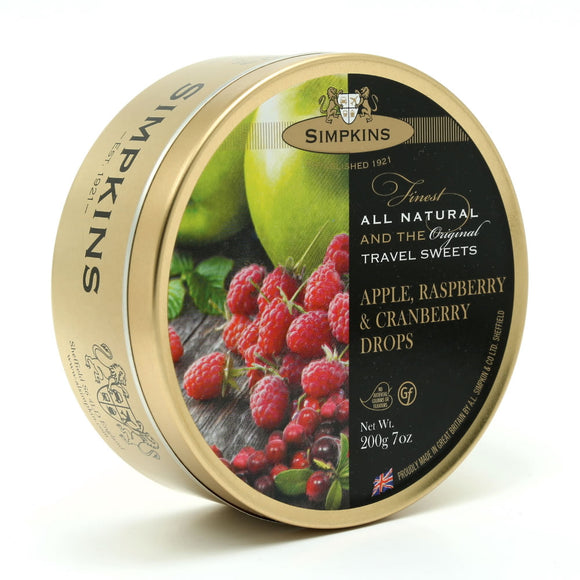 Simpkin's Travel Sweets Apple,Raspberry & Cranberry Drops Tin 6 x 200g