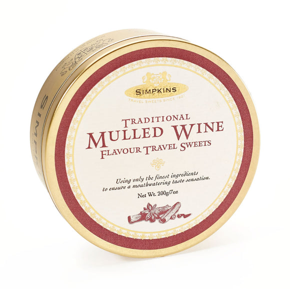 Simpkin's Travel Sweets Mulled Wine Traditional Drops Tin 6 x 200g