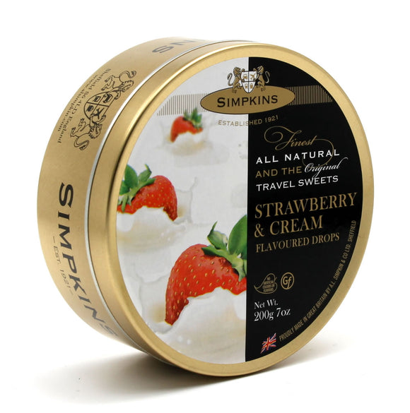 Simpkin's Travel Sweets Strawberry & Cream Drops Tin 6 x 200g
