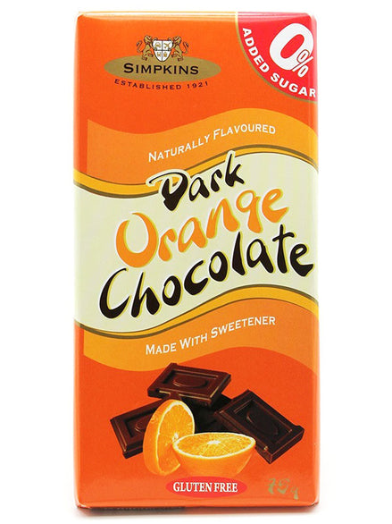 Simpkins No Added Sugar Dark Chocolate Orange Bar 12 x 75g