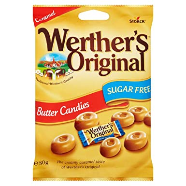 Werthers Original Sugar Free Butter Candy Pre-Packs 18 x 80g