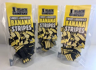 Black Liquorice Company Banana Stripes Pre-Pack Bags 6 x 175g