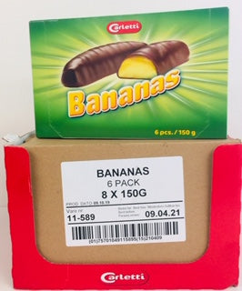 Carletti Chocolate Covered Mallow Bananas 6pk Gift Box 1 x 8pk