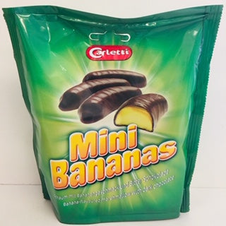 Carletti Chocolate Covered Mini Mallow Bananas 135g Doy Bag 1 x 24pk