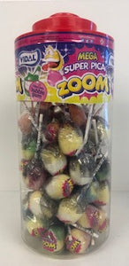Vidal Wrapped Zoom Lollies Super Sour Filled With Bubblegum Flavour Jar 1 x 50pk