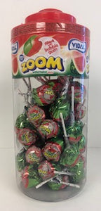 Vidal Wrapped Zoom Lollies Watermelon Flavour Jar 1 x 50pk