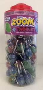 Vidal Wrapped Zoom Lollies Tongue Painter Cherry Flavour Jar 1 x 50pk