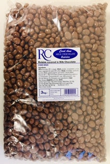 Carol Anne Milk Chocolate Covered Raisins 3kg Bag