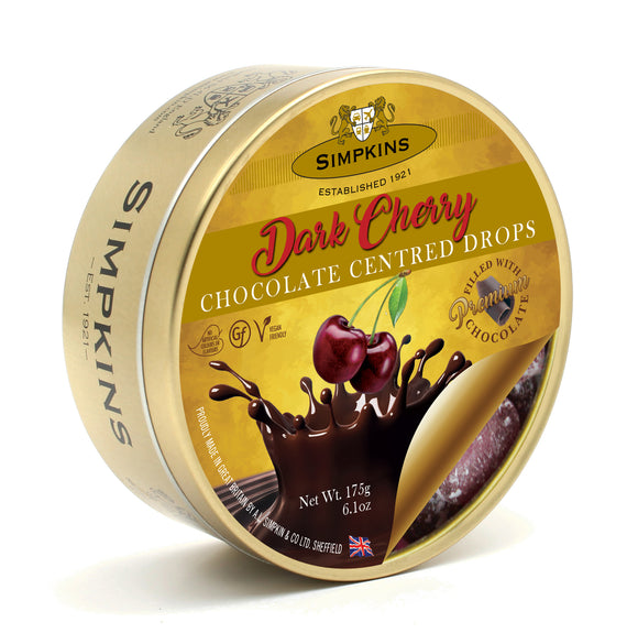 Simpkin's Travel Sweets Dark Cherry Chocolate Centred Drops Tin 6 x 175g