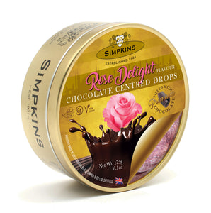 Simpkin's Travel Sweets Rose Chocolate Centred Drops Tin 6 x 175g