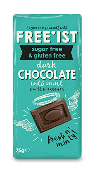 Freeist Sugar Free & Gluten Free Dark Chocolate With Mint Bar 12 x 75g Box
