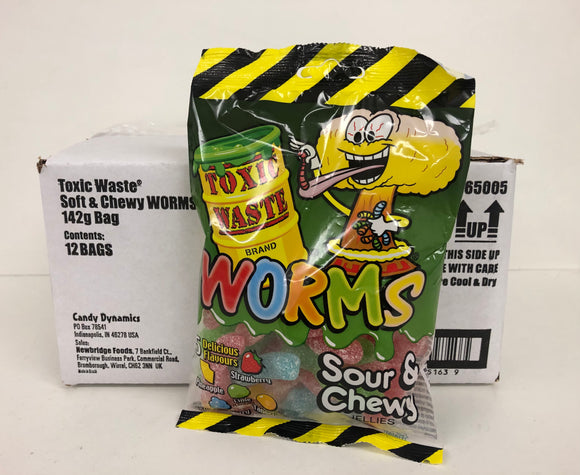 Toxic Waste Sour & Chewy Worms Pre Packs 12 x 142g