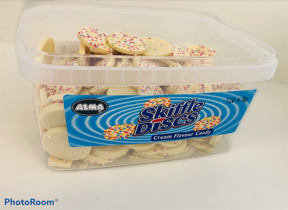 Alma White Chocolate Skiffle Disc Tub 120 x 5p