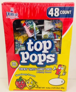 Top Pops Strawberry & Lemon Taffy Lollies 48 x 10g