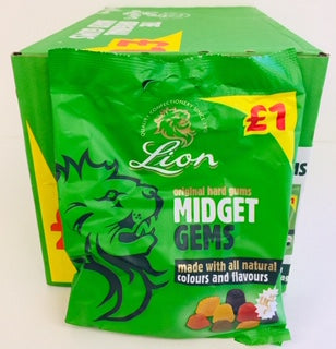 Lion Midget Gems Pre-Packs 12 x 150g £1 PM