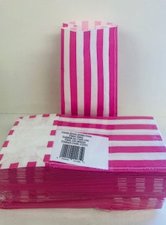 RPS Pink Candy Stripe Sweet Bags Paper  1 x 100pk